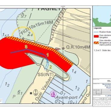 Raccordement Fécamp – Opérations de pose de fourreaux dans le chenal en août 2021